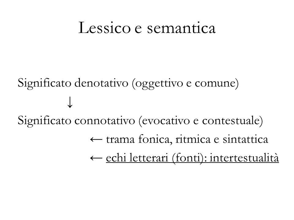 Lessico e semantica Significato denotativo (oggettivo e comune) Significato connotativo (evocativo e contestuale) trama fonica, ritmica e sintattica echi letterari (fonti): intertestualità