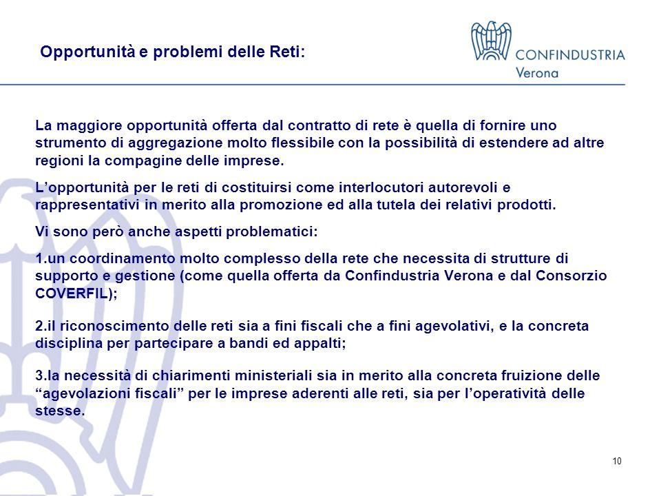 Opportunità e problemi delle Reti: La maggiore opportunità offerta dal contratto di rete è quella di fornire uno strumento di aggregazione molto flessibile con la possibilità di estendere ad altre regioni la compagine delle imprese.