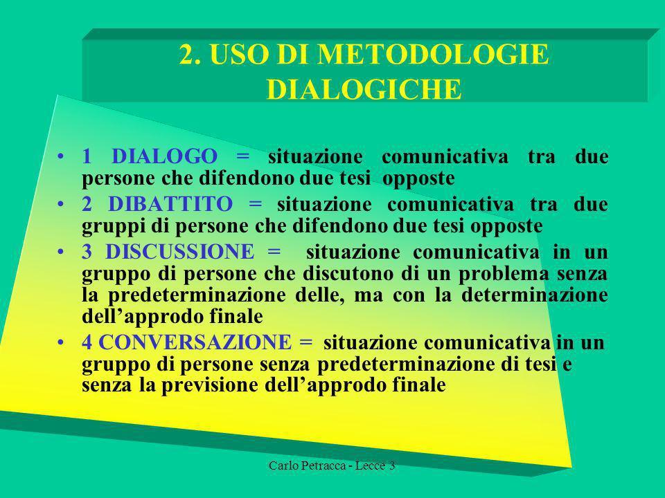 2. USO DI METODOLOGIE DIALOGICHE 1 DIALOGO = situazione comunicativa tra due persone che difendono due tesi opposte 2 DIBATTITO = situazione comunicat