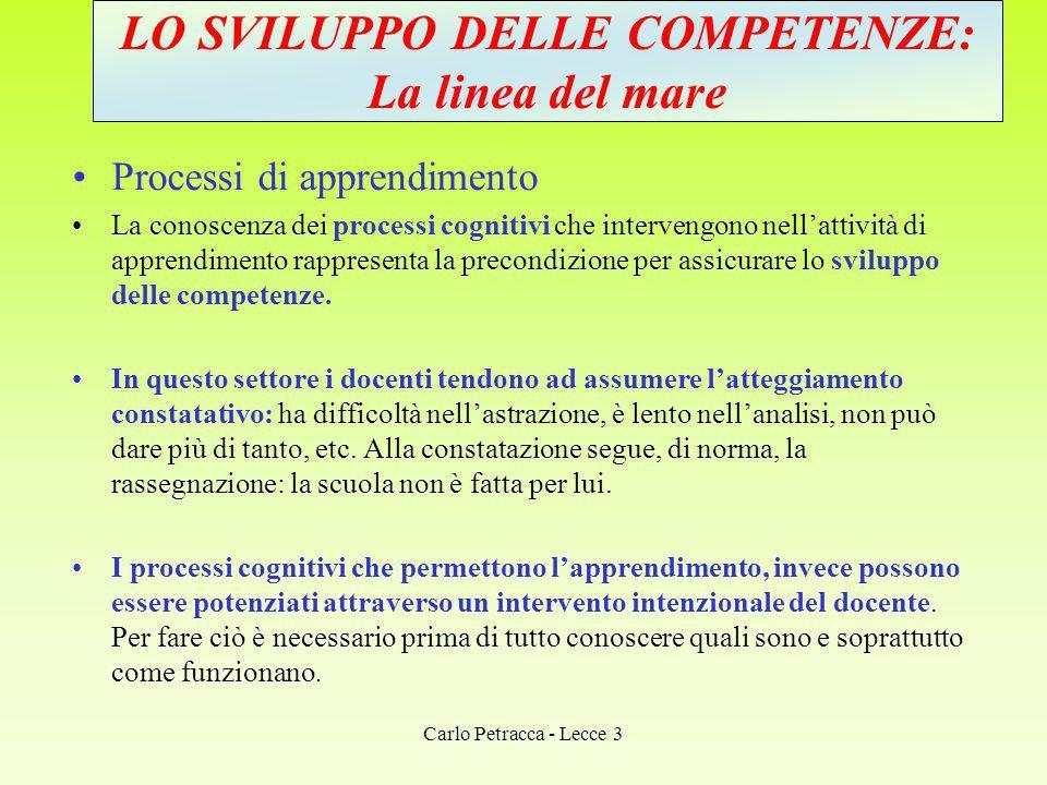 PROCESSI COGNITIVI FONDAMENTALI 1.Processi percettivi 2.Processi mnestici 3.Processi induttivi o di astrazione 4.Processi deduttivi 5.Processi dialettici 6.Processi creativi Carlo Petracca - Lecce 3