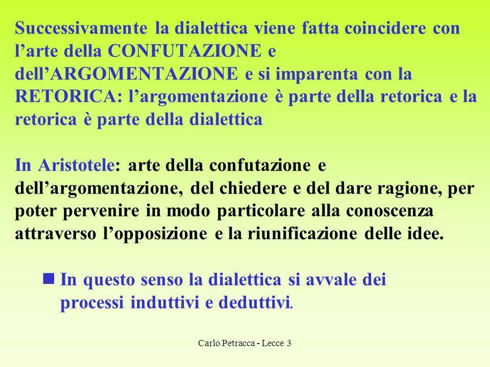 Successivamente la dialettica viene fatta coincidere con larte della CONFUTAZIONE e dellARGOMENTAZIONE e si imparenta con la RETORICA: largomentazione