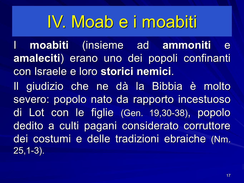 17 I moabiti (insieme ad ammoniti e amaleciti) erano uno dei popoli confinanti con Israele e loro storici nemici.