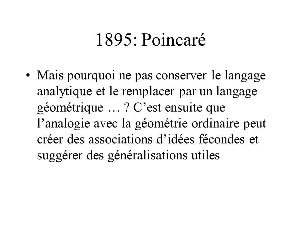 1895: Poincaré Mais pourquoi ne pas conserver le langage analytique et le remplacer par un langage géométrique … ? Cest ensuite que lanalogie avec la
