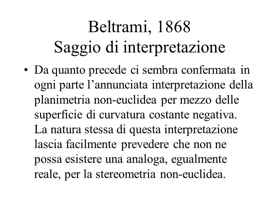 Beltrami, 1868 Saggio di interpretazione Da quanto precede ci sembra confermata in ogni parte lannunciata interpretazione della planimetria non-euclidea per mezzo delle superficie di curvatura costante negativa.