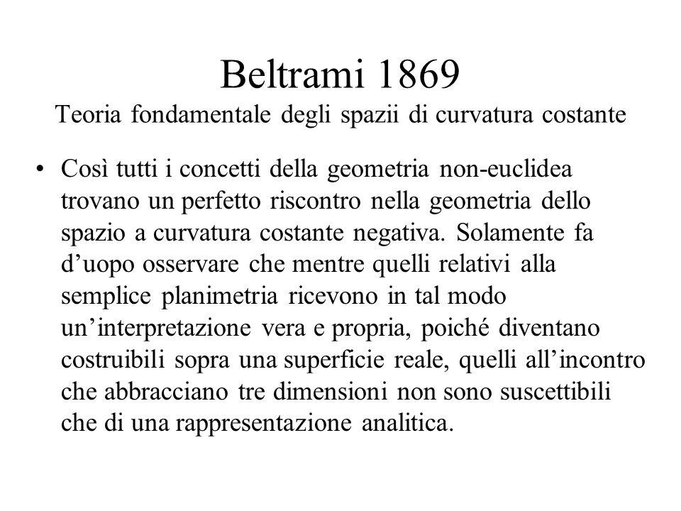 Beltrami 1869 Teoria fondamentale degli spazii di curvatura costante Così tutti i concetti della geometria non-euclidea trovano un perfetto riscontro nella geometria dello spazio a curvatura costante negativa.