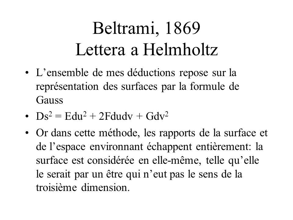 Beltrami, 1869 Lettera a Helmholtz Lensemble de mes déductions repose sur la représentation des surfaces par la formule de Gauss Ds 2 = Edu 2 + 2Fdudv + Gdv 2 Or dans cette méthode, les rapports de la surface et de lespace environnant échappent entièrement: la surface est considérée en elle-même, telle quelle le serait par un être qui neut pas le sens de la troisième dimension.