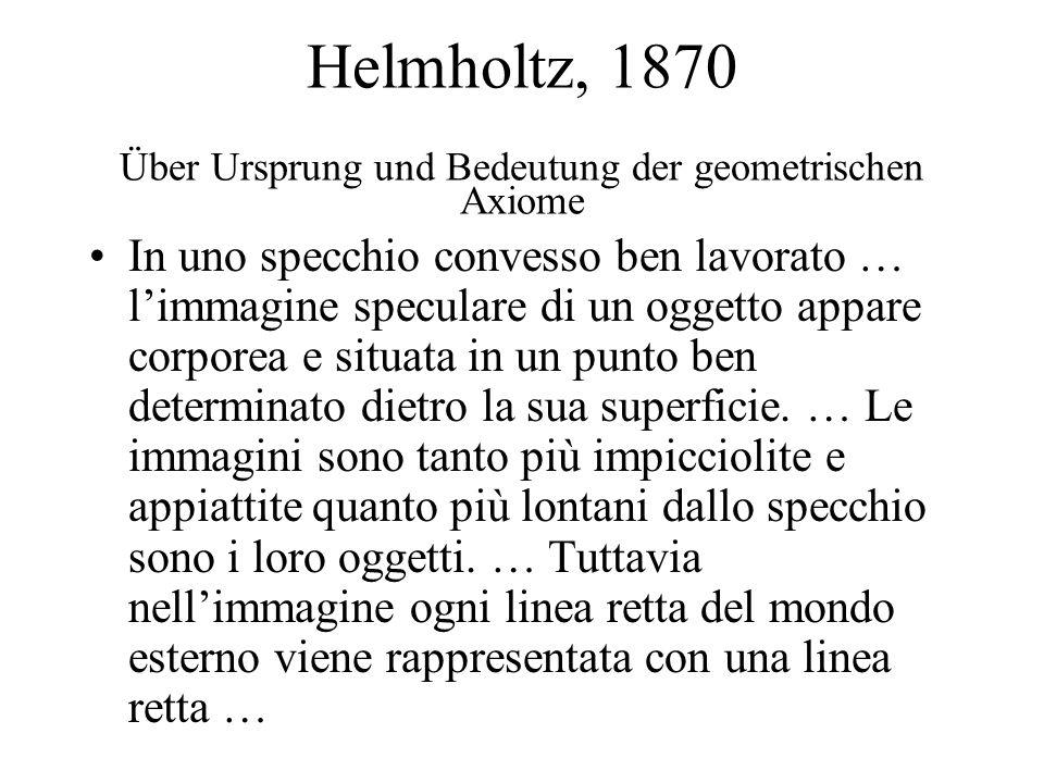 Helmholtz, 1870 Über Ursprung und Bedeutung der geometrischen Axiome In uno specchio convesso ben lavorato … limmagine speculare di un oggetto appare corporea e situata in un punto ben determinato dietro la sua superficie.