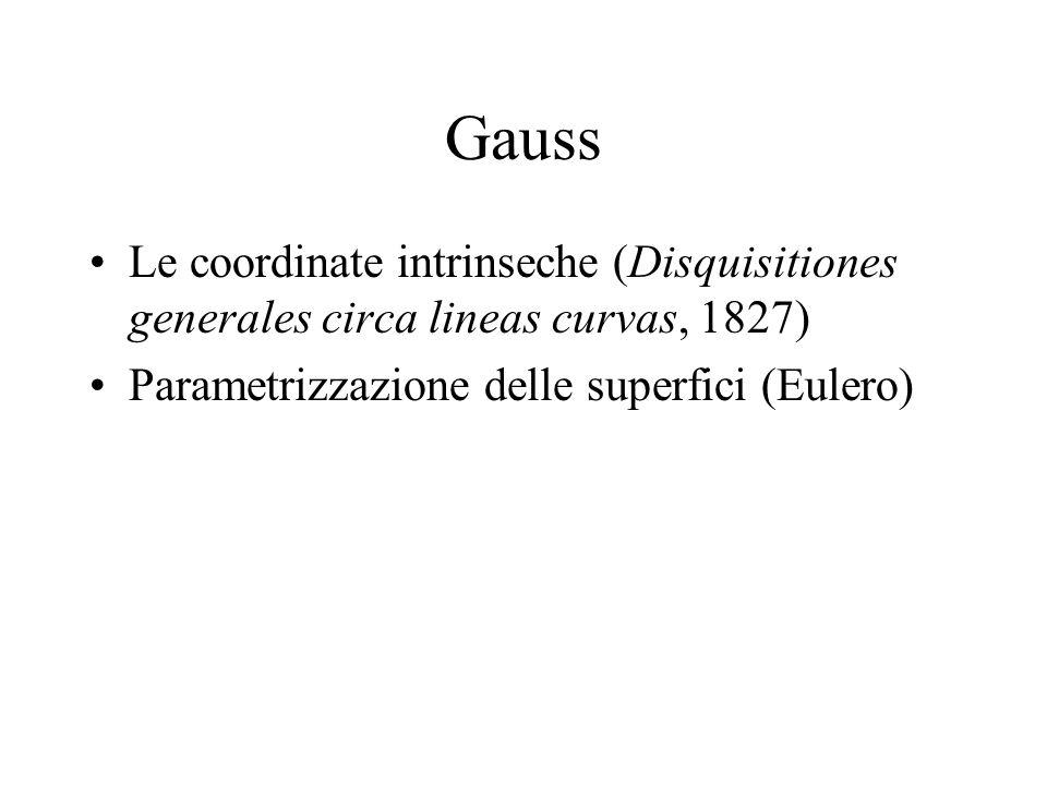 Gauss Le coordinate intrinseche (Disquisitiones generales circa lineas curvas, 1827) Parametrizzazione delle superfici (Eulero)