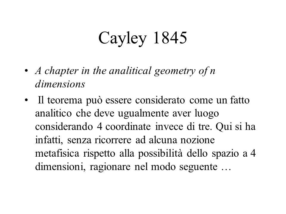 Cayley 1845 A chapter in the analitical geometry of n dimensions Il teorema può essere considerato come un fatto analitico che deve ugualmente aver luogo considerando 4 coordinate invece di tre.