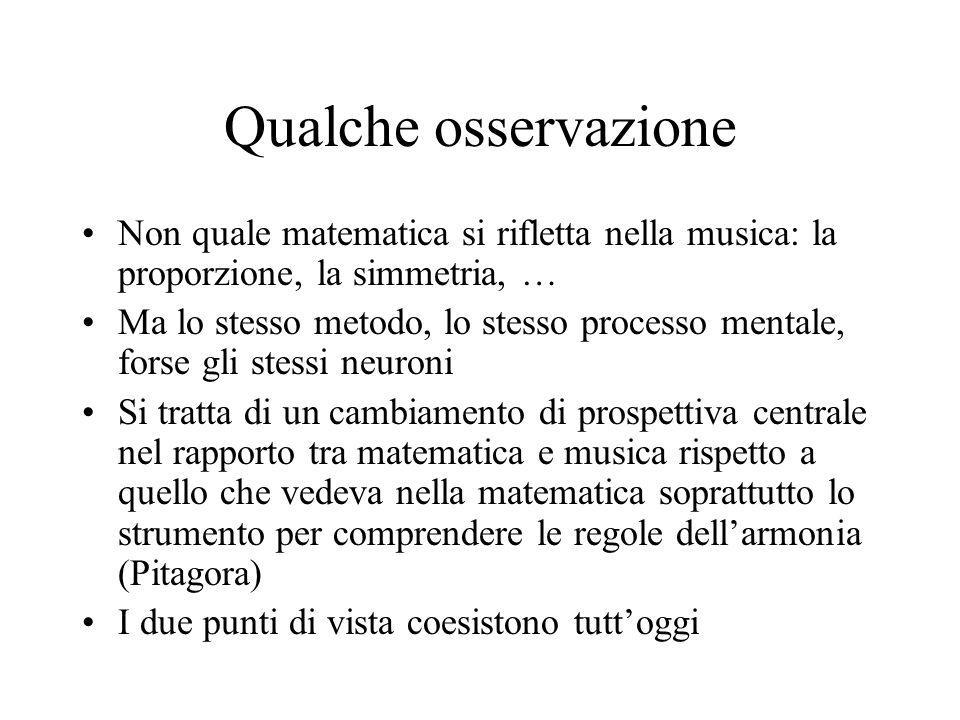 Qualche osservazione Non quale matematica si rifletta nella musica: la proporzione, la simmetria, … Ma lo stesso metodo, lo stesso processo mentale, f