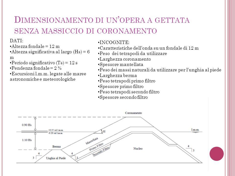 D IMENSIONAMENTO DI UN OPERA A GETTATA SENZA MASSICCIO DI CORONAMENTO DATI: Altezza fondale = 12 m Altezza significativa al largo (Hs) = 6 m Periodo significativo (Ts) = 12 s Pendenza fondale = 2 % Escursioni l.m.m.
