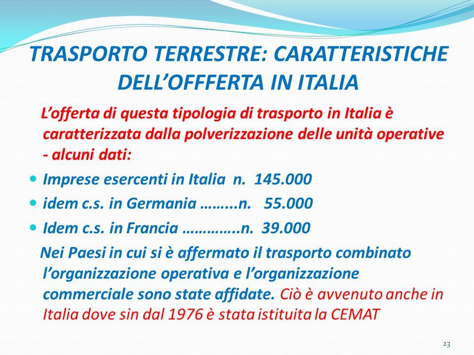 TRASPORTO TERRESTRE: CARATTERISTICHE DELLOFFFERTA IN ITALIA Lofferta di questa tipologia di trasporto in Italia è caratterizzata dalla polverizzazione
