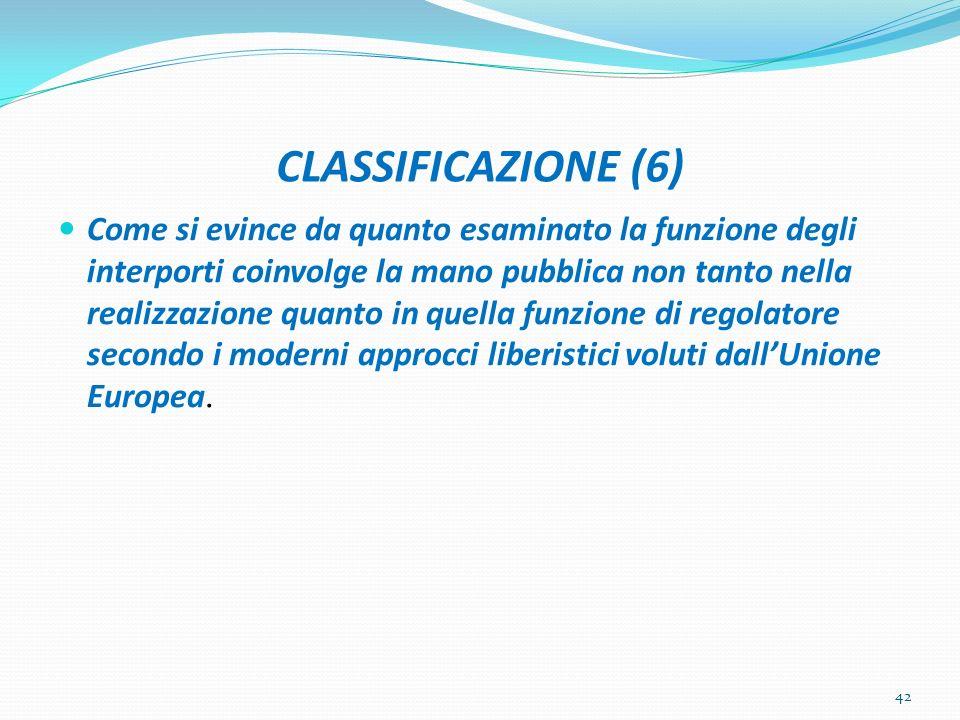 CLASSIFICAZIONE (6) Come si evince da quanto esaminato la funzione degli interporti coinvolge la mano pubblica non tanto nella realizzazione quanto in
