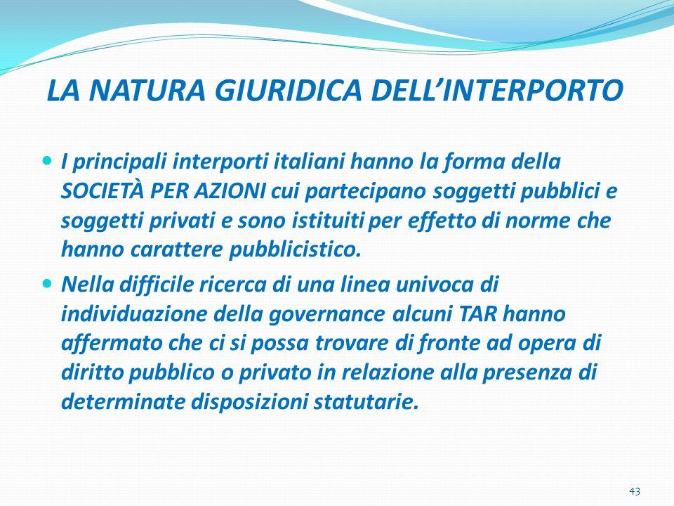 LA NATURA GIURIDICA DELLINTERPORTO I principali interporti italiani hanno la forma della SOCIETÀ PER AZIONI cui partecipano soggetti pubblici e sogget
