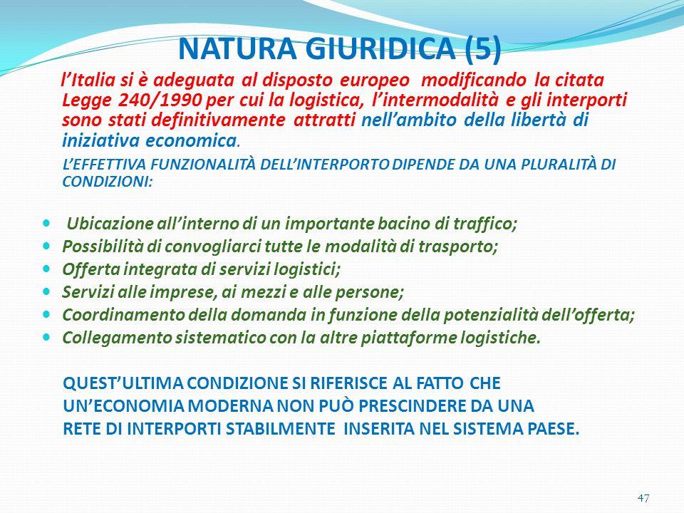 NATURA GIURIDICA (5) lItalia si è adeguata al disposto europeo modificando la citata Legge 240/1990 per cui la logistica, lintermodalità e gli interpo