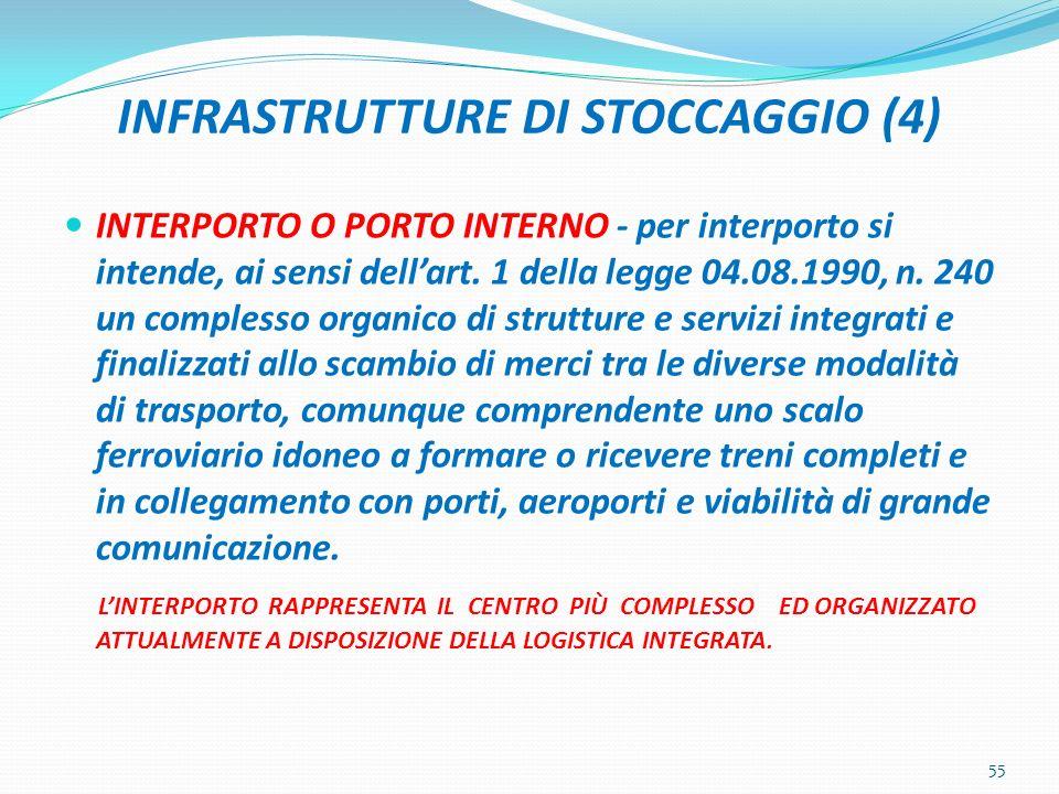 INFRASTRUTTURE DI STOCCAGGIO (4) INTERPORTO O PORTO INTERNO - per interporto si intende, ai sensi dellart. 1 della legge 04.08.1990, n. 240 un comples