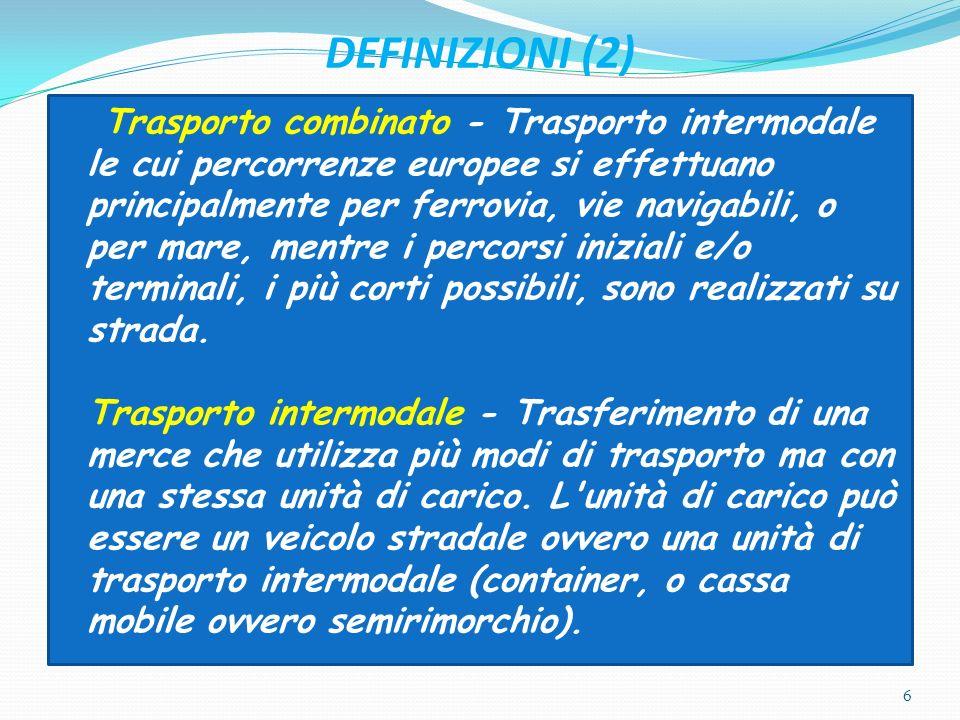 DEFINIZIONI (2) Trasporto combinato - Trasporto intermodale le cui percorrenze europee si effettuano principalmente per ferrovia, vie navigabili, o pe