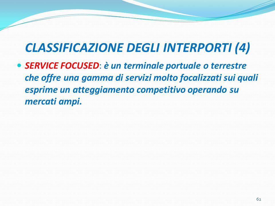 CLASSIFICAZIONE DEGLI INTERPORTI (4) SERVICE FOCUSED: è un terminale portuale o terrestre che offre una gamma di servizi molto focalizzati sui quali e