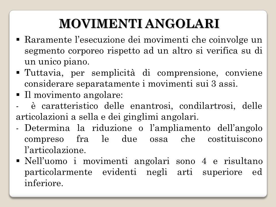 MOVIMENTI ANGOLARI Raramente lesecuzione dei movimenti che coinvolge un segmento corporeo rispetto ad un altro si verifica su di un unico piano. Tutta