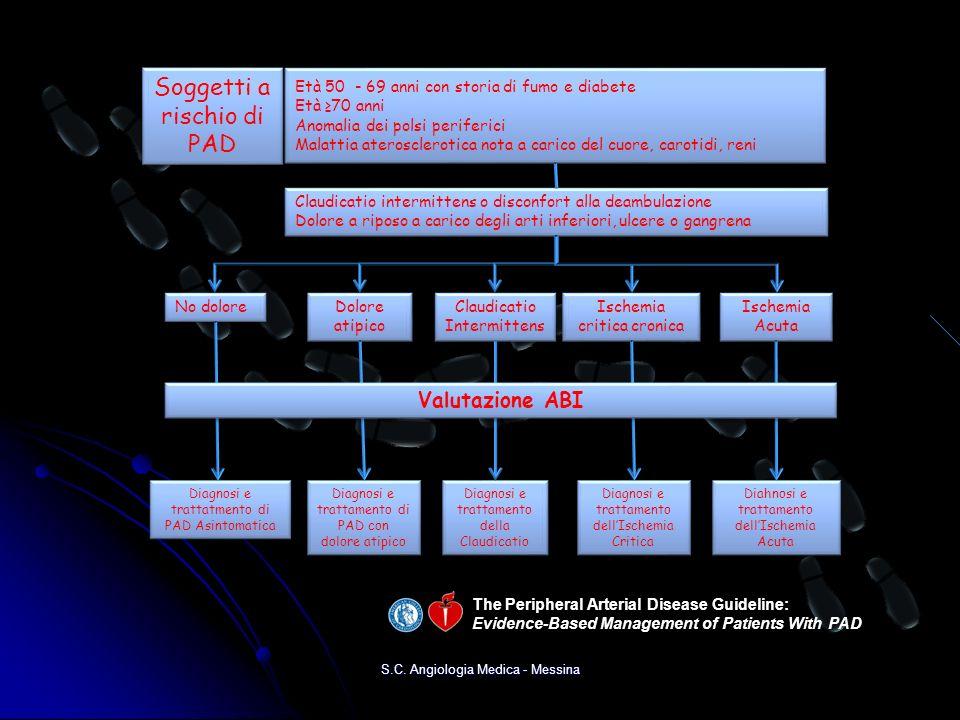 S.C. Angiologia Medica - Messina Claudicatio intermittens o disconfort alla deambulazione Dolore a riposo a carico degli arti inferiori, ulcere o gang