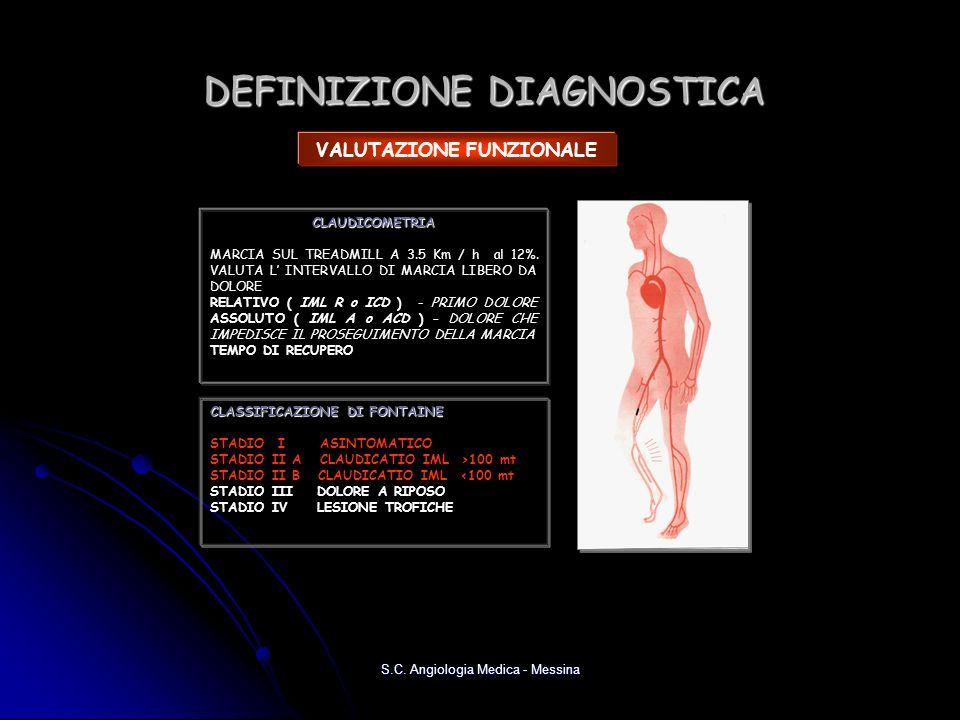 DEFINIZIONE DIAGNOSTICA VALUTAZIONE FUNZIONALE CLAUDICOMETRIA MARCIA SUL TREADMILL A 3.5 Km / h al 12%. VALUTA L INTERVALLO DI MARCIA LIBERO DA DOLORE