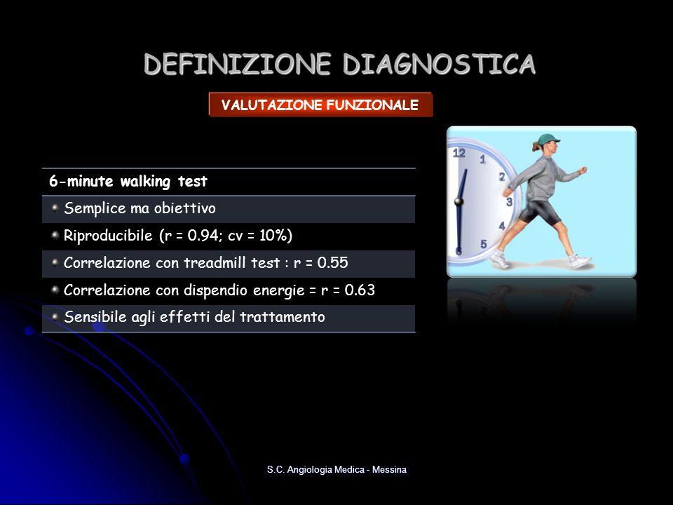 DEFINIZIONE DIAGNOSTICA S.C. Angiologia Medica - Messina VALUTAZIONE FUNZIONALE 6-minute walking test Semplice ma obiettivo Riproducibile (r = 0.94; c