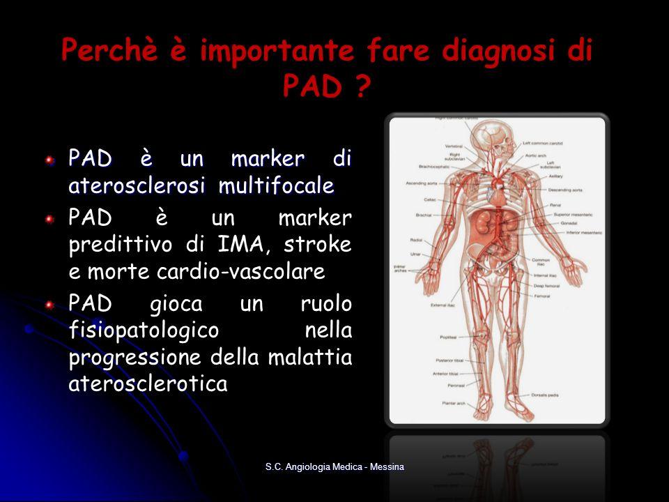Perchè è importante fare diagnosi di PAD ? PAD è un marker di aterosclerosi multifocale PAD è un marker predittivo di IMA, stroke e morte cardio-vasco
