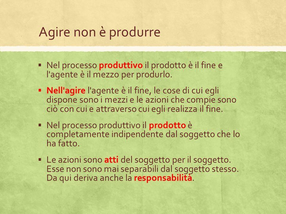 Agire non è produrre Nel processo produttivo il prodotto è il fine e l'agente è il mezzo per produrlo. Nell'agire l'agente è il fine, le cose di cui e