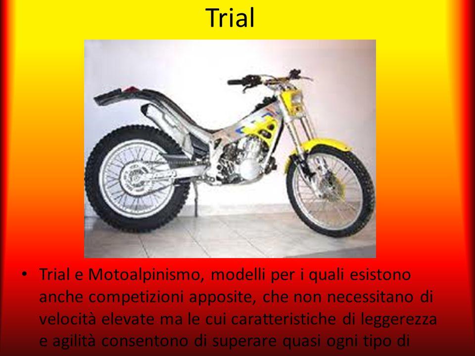 Trial Trial e Motoalpinismo, modelli per i quali esistono anche competizioni apposite, che non necessitano di velocità elevate ma le cui caratteristic