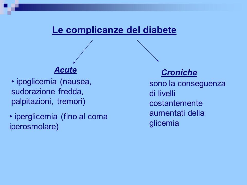 Le complicanze del diabete Acute ipoglicemia (nausea, sudorazione fredda, palpitazioni, tremori) iperglicemia (fino al coma iperosmolare) Croniche son