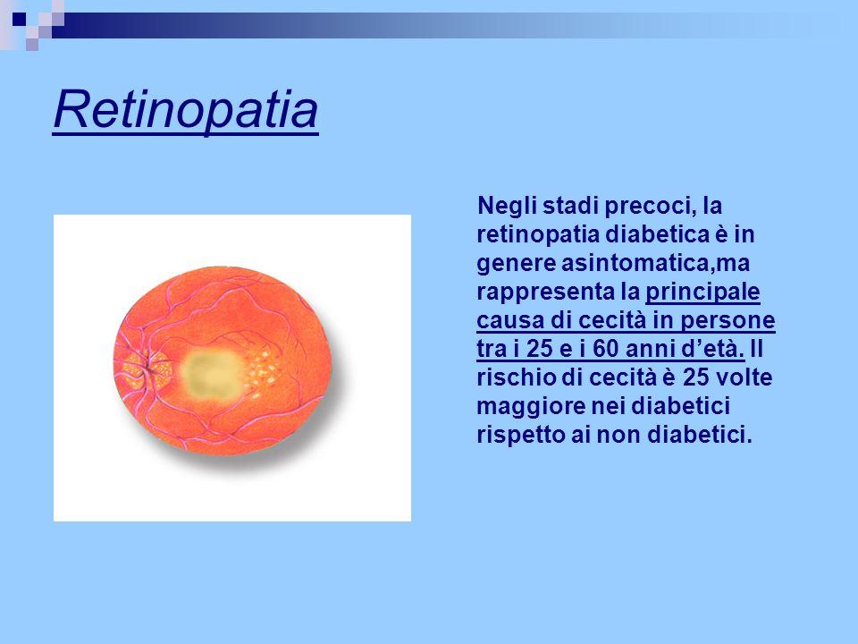 Retinopatia Negli stadi precoci, la retinopatia diabetica è in genere asintomatica,ma rappresenta la principale causa di cecità in persone tra i 25 e