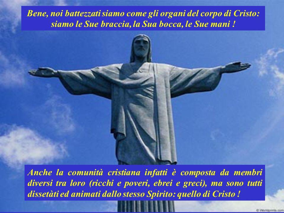 Bene, noi battezzati siamo come gli organi del corpo di Cristo: siamo le Sue braccia, la Sua bocca, le Sue mani .