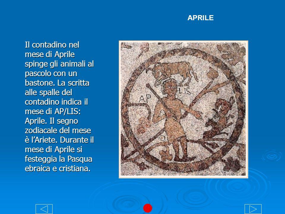 MAGGIO La figura del mese è vestita con un abito ricamato su un trono e sorregge nelle due mani due rami.