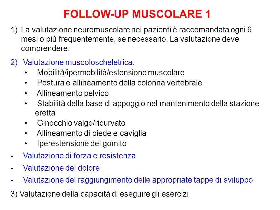 FOLLOW-UP MUSCOLARE 1 1)La valutazione neuromuscolare nei pazienti è raccomandata ogni 6 mesi o più frequentemente, se necessario. La valutazione deve