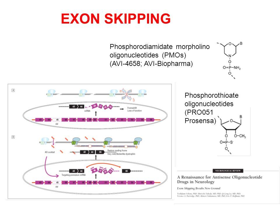 Phosphorodiamidate morpholino oligonucleotides (PMOs) (AVI-4658; AVI-Biopharma) Phosphorothioate oligonucleotides (PRO051 Prosensa) EXON SKIPPING