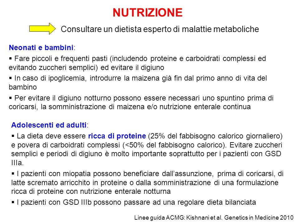 NUTRIZIONE Consultare un dietista esperto di malattie metaboliche Neonati e bambini: Fare piccoli e frequenti pasti (includendo proteine e carboidrati
