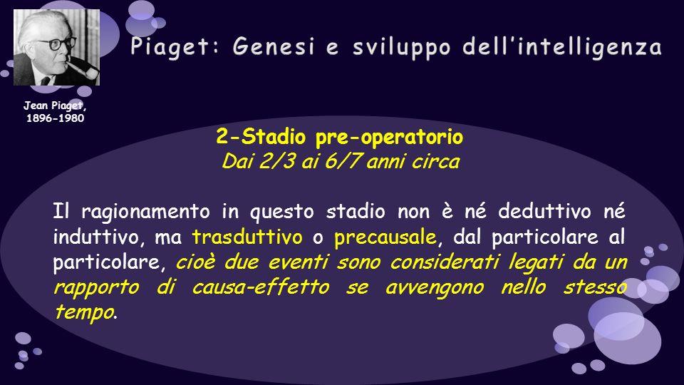 2-Stadio pre-operatorio Dai 2/3 ai 6/7 anni circa Il ragionamento in questo stadio non è né deduttivo né induttivo, ma trasduttivo o precausale, dal p