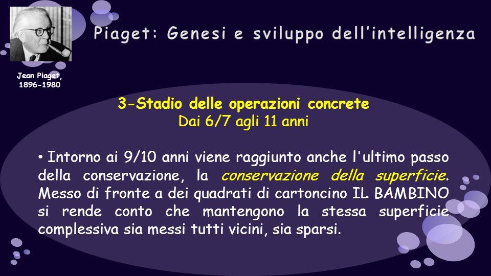 3-Stadio delle operazioni concrete Dai 6/7 agli 11 anni Intorno ai 9/10 anni viene raggiunto anche l'ultimo passo della conservazione, la conservazion