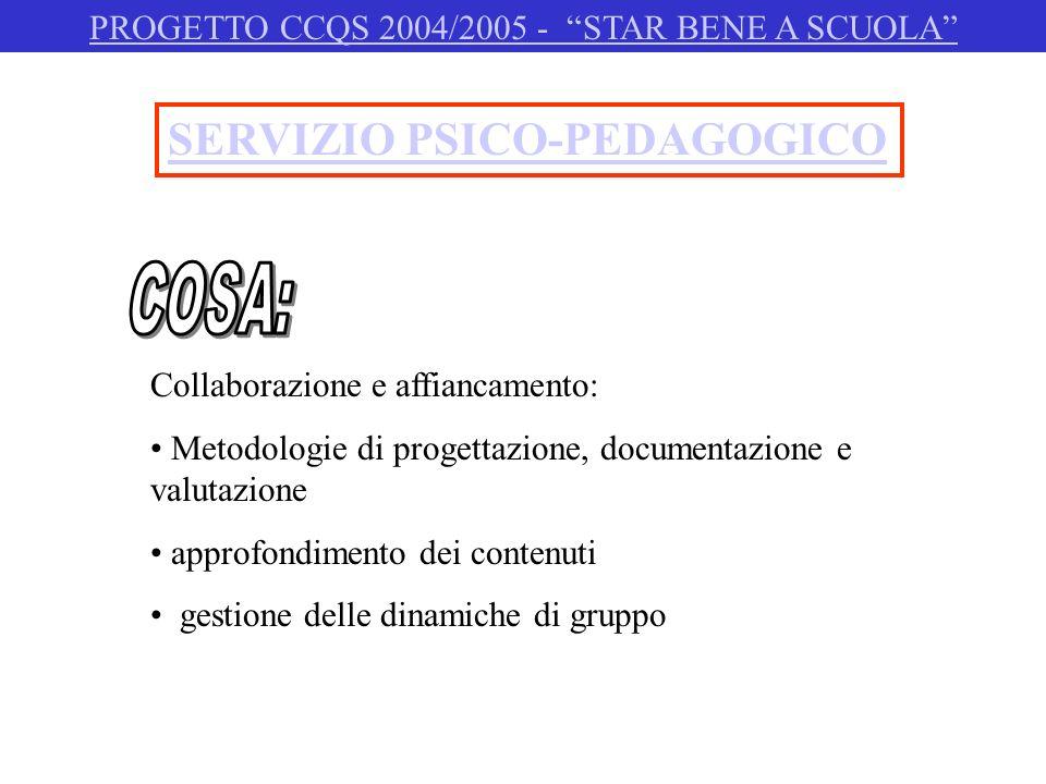 SERVIZIO PSICO-PEDAGOGICO Collaborazione e affiancamento: Metodologie di progettazione, documentazione e valutazione approfondimento dei contenuti ges