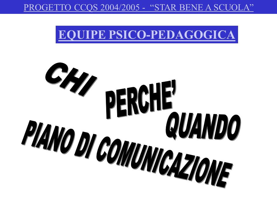 COORDINATORE STAR BENE A SCUOLA: NICOLETTA BERETTI PSICOLOGHE: IRIS GUAZZETTI - ANNALISA GRASSELLI PEDAGOGISTA: JESSICA FERRARI AZIONE DI SISTEMA: CHIARA TORLAI - NOVELLA NOTARI PROGETTO CCQS 2004/2005 - STAR BENE A SCUOLA