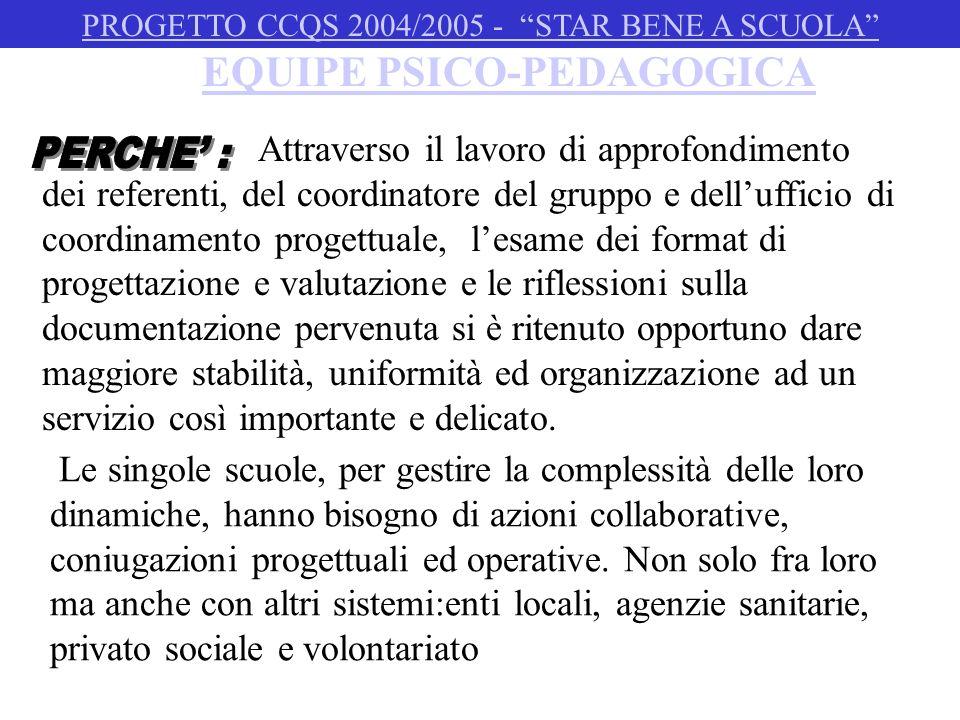 EQUIPE PSICO-PEDAGOGICA Da dicembre a maggio PROGETTO CCQS 2004/2005 - STAR BENE A SCUOLA