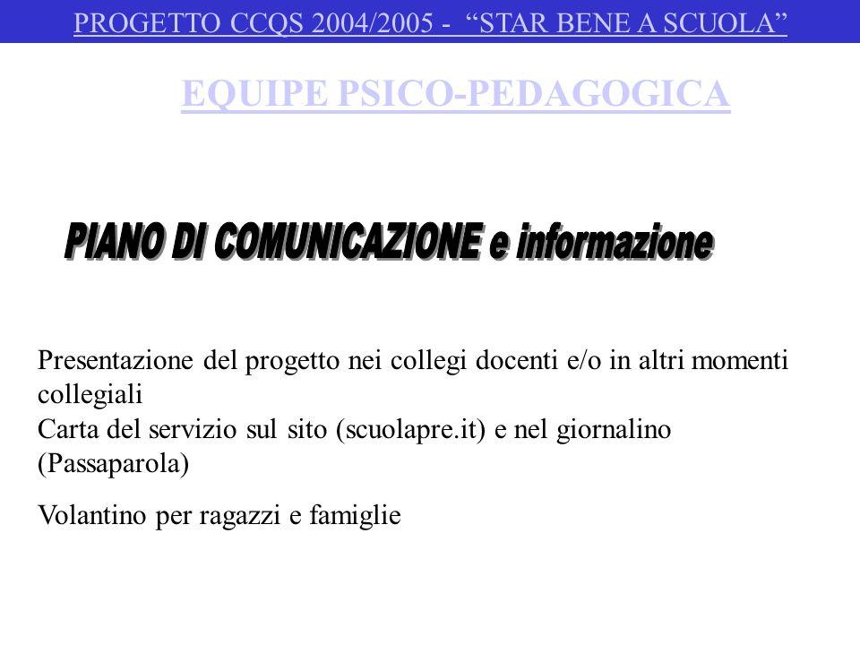 PSICOLOGO SCOLASTICO PROGETTO CCQS 2004/2005 - STAR BENE A SCUOLA