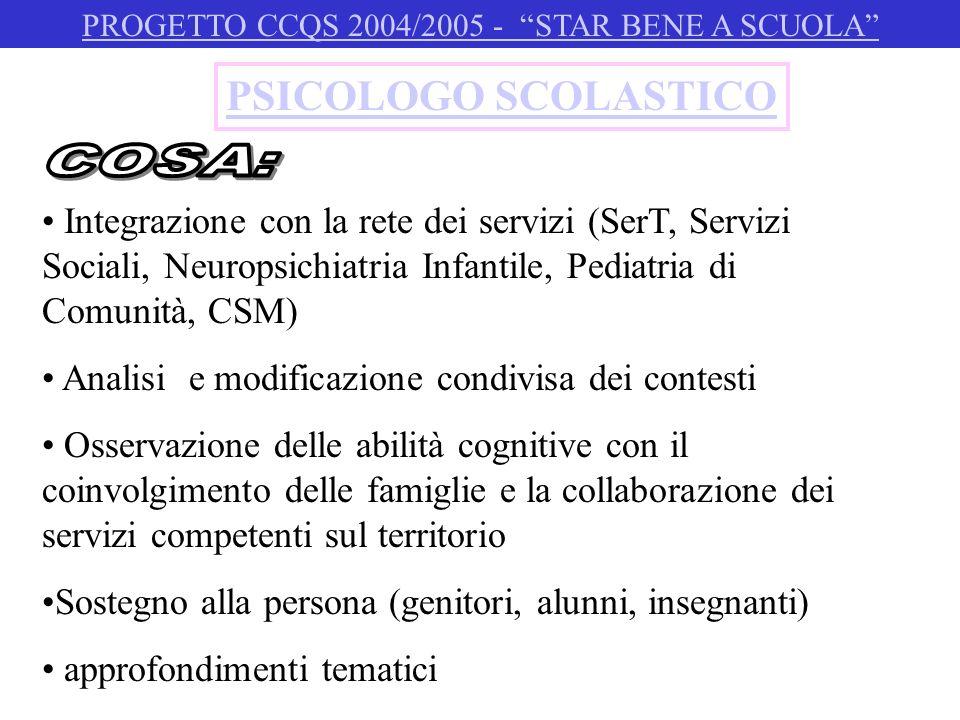 PSICOLOGO SCOLASTICO Integrazione con la rete dei servizi (SerT, Servizi Sociali, Neuropsichiatria Infantile, Pediatria di Comunità, CSM) Analisi e mo