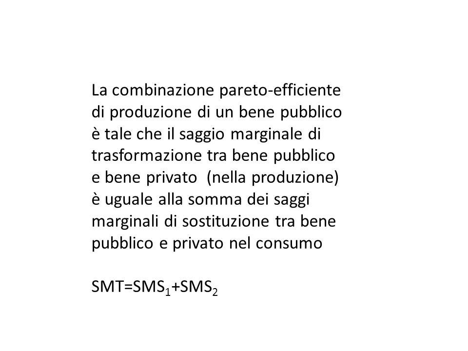 La combinazione pareto-efficiente di produzione di un bene pubblico è tale che il saggio marginale di trasformazione tra bene pubblico e bene privato