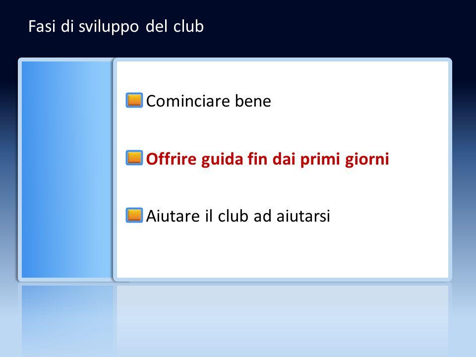 Fasi di sviluppo del club Cominciare bene Offrire guida fin dai primi giorni Aiutare il club ad aiutarsi