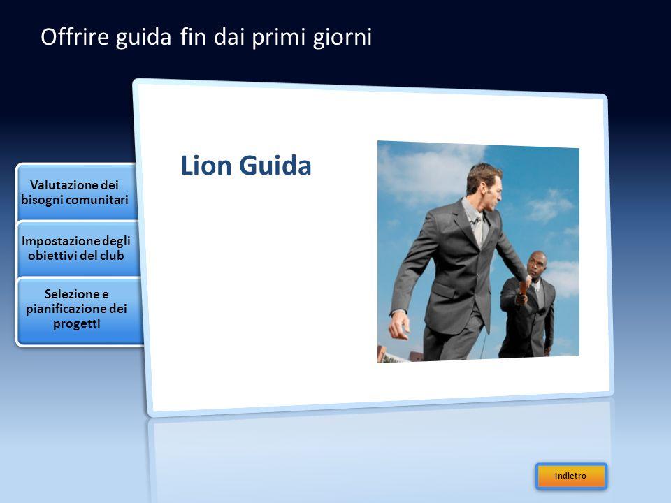 Offrire guida fin dai primi giorni Lion Guida Valutazione dei bisogni comunitari Impostazione degli obiettivi del club Selezione e pianificazione dei progetti Indietro