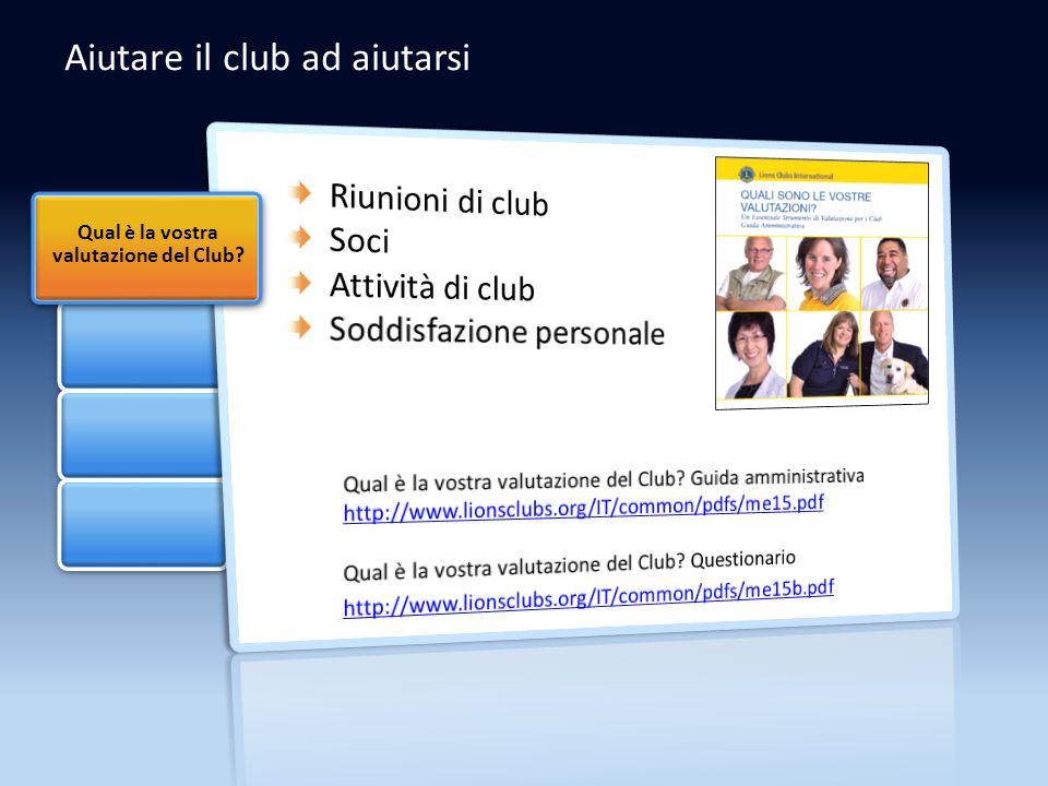 Aiutare il club ad aiutarsi Qual è la vostra valutazione del Club