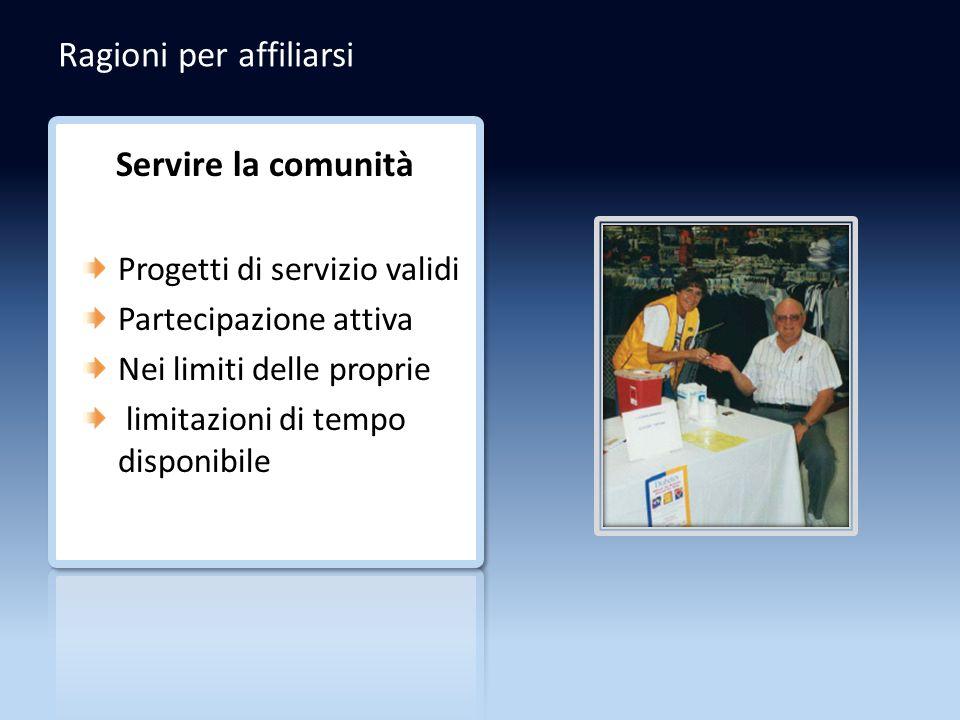 Ragioni per affiliarsi Servire la comunità Progetti di servizio validi Partecipazione attiva Nei limiti delle proprie limitazioni di tempo disponibile