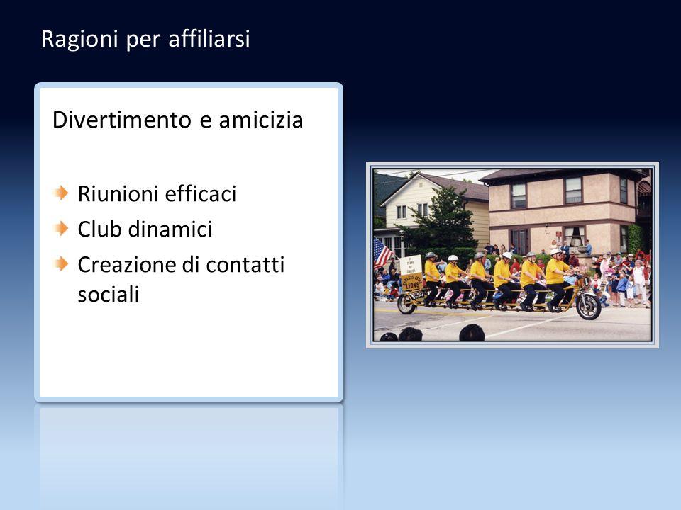 Ragioni per affiliarsi Divertimento e amicizia Riunioni efficaci Club dinamici Creazione di contatti sociali