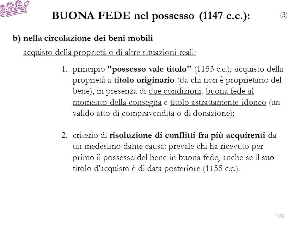 BUONA FEDE nel possesso (1147 c.c.): (3) b) nella circolazione dei beni mobili acquisto della proprietà o di altre situazioni reali: